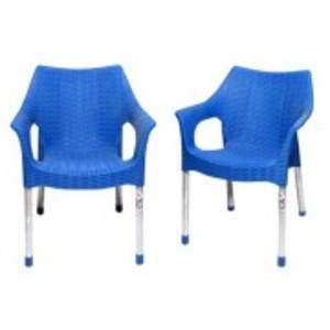 Rattan Plastic Chair With Steel Legs Set of 2-Blue