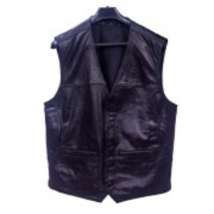Black Leather Waistcoat With Pockets-VC 1