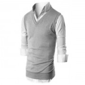 Grey Fleece Half Sleeves Sweater