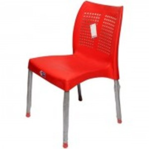 Plastic Res Relaxo Chair With Steel Legs-Red