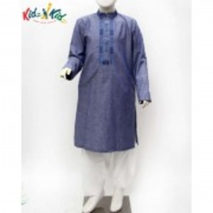 Blue Embroidered Kurta Shalwar 2 Pc