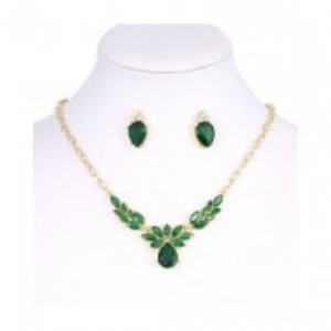 Golden Green Flower Necklace & Earring Set