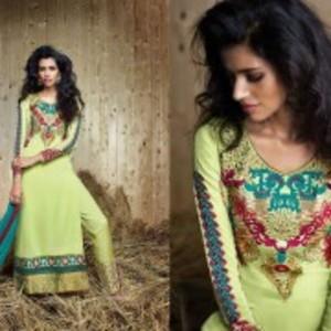 Light Green Semi Stitched Designer Dress with Dupatta-9052
