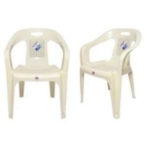 Stylish Plastic Outdoor Chair Set of 2-White