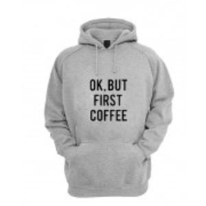 Women's Grey Coffee Printed Hoodie.