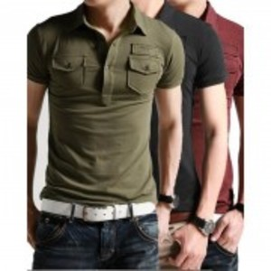 Pack Of 3-Collar Pocket T-Shirts