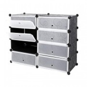 Oddity Plastic DIY Portable Shoe Rack Storage Organizer Cabinet. 4 Cube Double side Shoe Wardrobe