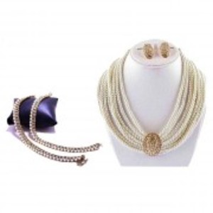 Combo Deal - White Jewellery Set & Golden White Payal (Anklet)