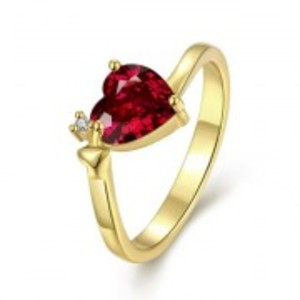 Gold Plated Heart Cubic Zircon Forever Ring