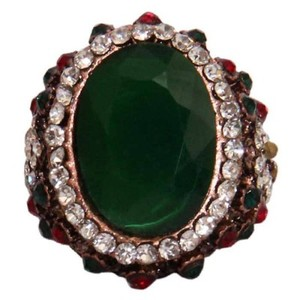 Gold Plated Green & Multicoloured Stone Ring-R-0030
