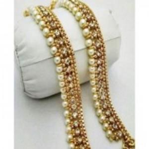 Set Of 2-Pearl Golden Anklets-S2H:10096444710000330298357