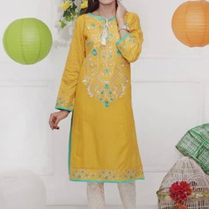 Yellow Textured Lawn Stitched Kurta with Multicolour Embroidery-BS1715
