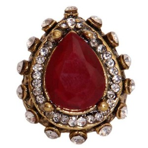 Gold Plated Red & White Stone Ring-R-0034