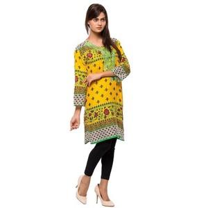 Bright Yellow Printed & Embroidered Lawn Kurti-VOL-52