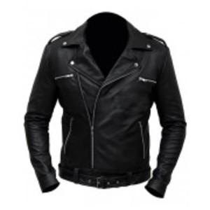 Black Premium Faux Leather Regular Fit Jacket Negan Biker Class Men
