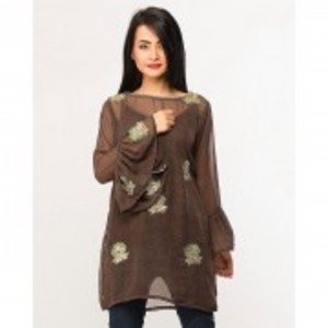 Green Chiffon Embroidered Tunic