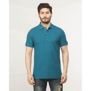 Teal Plain Cotton T-Shirt-870 Polo Teal