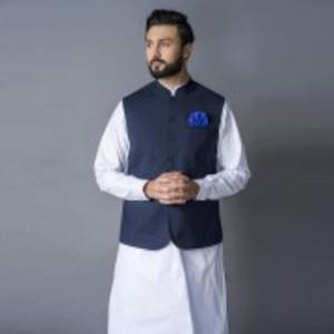 Blue Poly Cotton Waist Coat