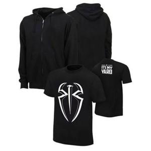 Set of 2-Black Hoodie with Cotton Printed Roman Reigns T Shirt-Ace-BF-001