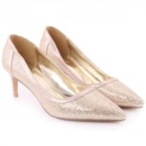 BERNIE Sling Back Shimmer Surface Closed Toe Stiletto Heel Sandals