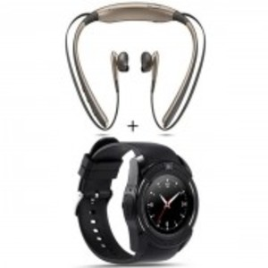 Pack Of 2:Bluetooth Wireless Neck Band  & V 8 Bluetooth Smart Watch