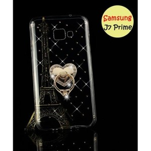 Samsung J7 Prime Cover & Mobile Ring-Transparent Fancy Cover