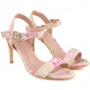 """""""QUINTY"""" Ankle Strap Printed Stiletto Slip On Sandals"""