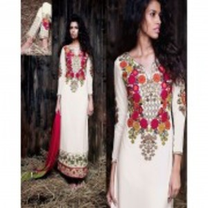 Off-White Semi Stitched Designer Dress with Dupatta-9061