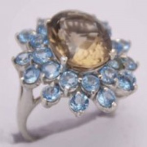 Topaz and Peridot Stone Ring-GB1147-Lite Brown