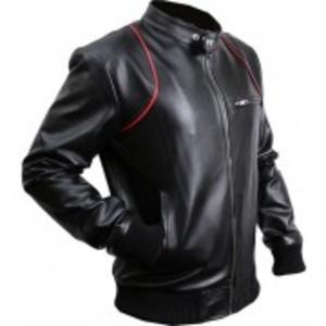 Old School Black & Red Faux Leather Jacket Custom Made 7 Otf -Black