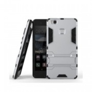 Silver Huawei P9 Lite Robot Armor Stand Case