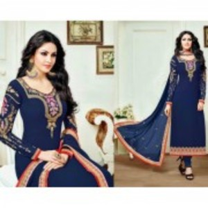 Blue Semi Stitched Designer Dress with Dupatta-8572