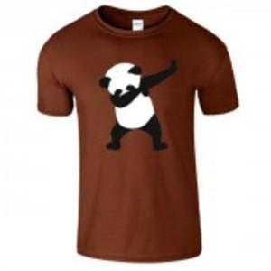 Brown Stylish Panda Printed T-Shirt-0477