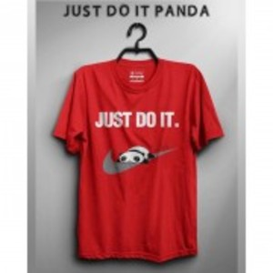 Just Do It Panda Printed T-Shirt-ON571S