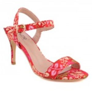 Red Women ?QUINTY? Ankle Strap Printed Stiletto Slip On Sandals-L30655-8