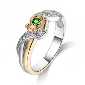 Gold Silver Flower Shaped Engagement Wedding Promise Rings For Women