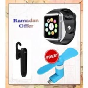 Ramadan Offer 9: Buy w08 smart watch and jabra boost handsfree & get usb fan absolutely free