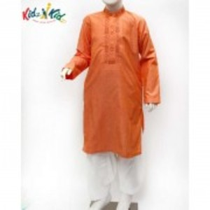 Orange Embroidered Kurta Shalwar 2 Pc
