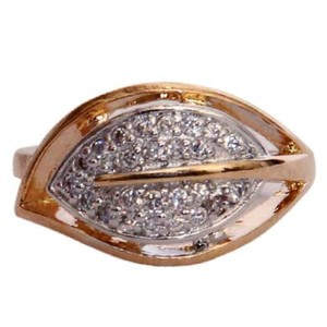 Gold Plated Watch Eye Style White Stone Ring-R-0066