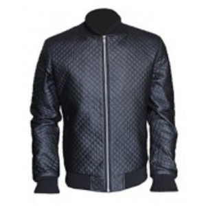 Browson Quilted Bomber Jacket Faux Leather Black