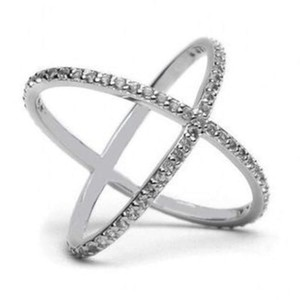 Criss Cross Zirconia Sterling Silver Ring