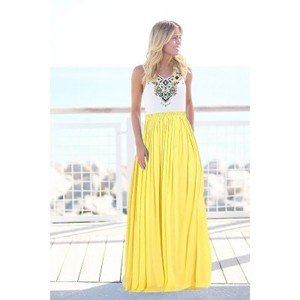 Yellow Printed Top Maxi Dress--ptm -yellow