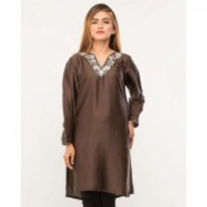 Grey Silk Silver Embroidered Tunic