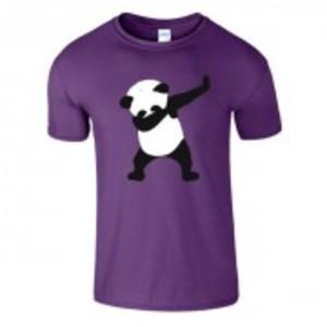 Purple Stylish Panda Printed T-Shirt-0497