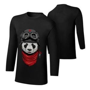 Ace-Black Panda Full Sleeves Cotton Printed T Shirt-Ace-9020