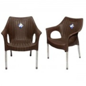 Rattan Plastic Chair With Steel Legs Set of 2-Dark Brown