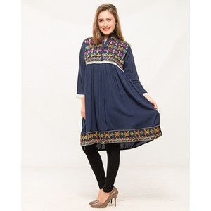 Navy Blue Malai Lawn Embroidered Tunic