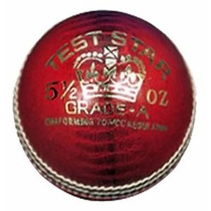 Red Test Star Cricket Ball  - RAJ0376