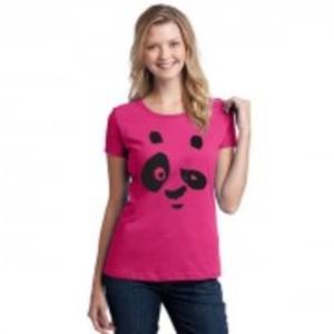 Pink Panda Short Sleeves Round Neck Printed T_Shirt