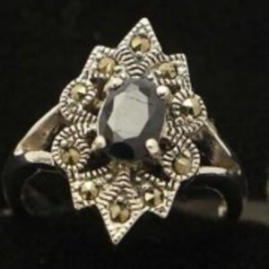 Sapphire Stone Silver Ring GB(5)4912